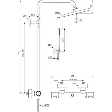 Coloana de dus Ideal Standard IdealRain cu baterie termostatata Ceratherm T50 si palarie Round 200mm, negru mat