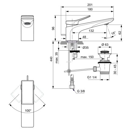 Baterie lavoar Ideal Standard Conca, ventil pop-up, silver storm
