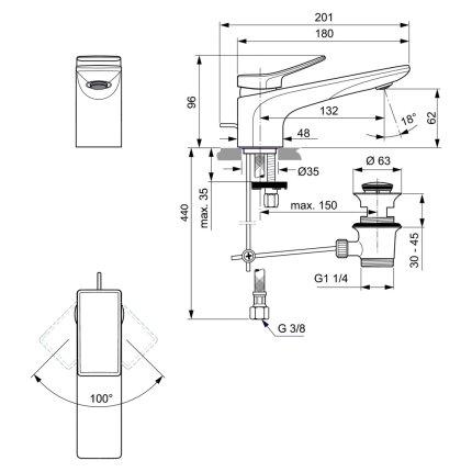 Baterie lavoar Ideal Standard Conca, ventil pop-up, gri magnetic