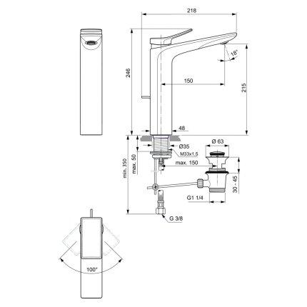 Baterie lavoar Ideal Standard Conca pentru lavoare tip bol, ventil pop-up, silver storm