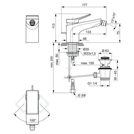 Baterie bideu Ideal Standard Conca, ventil pop-up, crom