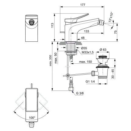 Baterie bideu Ideal Standard Conca, ventil pop-up, auriu periat