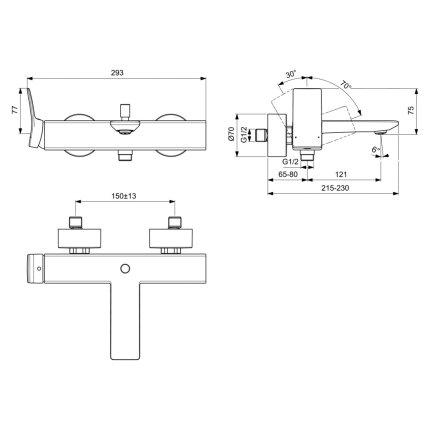 Baterie cada Ideal Standard Conca, crom