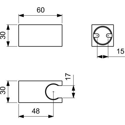 Agatatoare de dus Ideal Standard Ideal Rain Square, gri magnetic