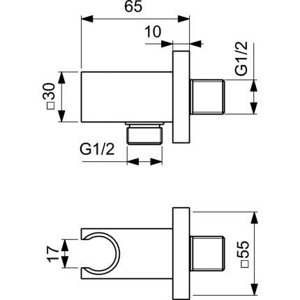 Conector FixFit Ideal Standard Ideal Rain Square cu agatatoare de dus, silver storm