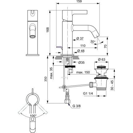 Baterie lavoar Ideal Standard Joy, ventil pop-up, gri magnetic