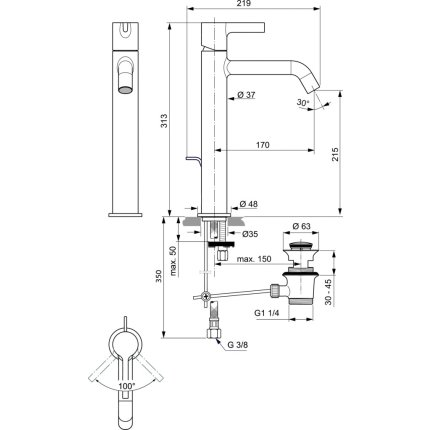 Baterie lavoar Ideal Standard Joy pentru lavoare tip bol, ventil pop-up, crom