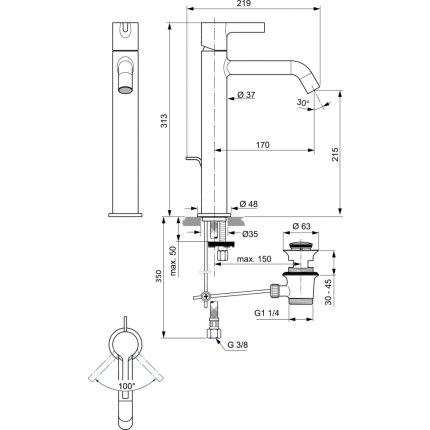 Baterie lavoar Ideal Standard Joy pentru lavoare tip bol, ventil pop-up, gri magnetic