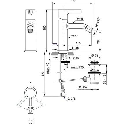 Baterie bideu Ideal Standard Joy, gri magnetic