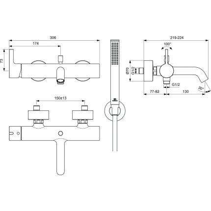 Set baterie cada Ideal Standard Joy si set de dus cu agatatoare, gri magnetic