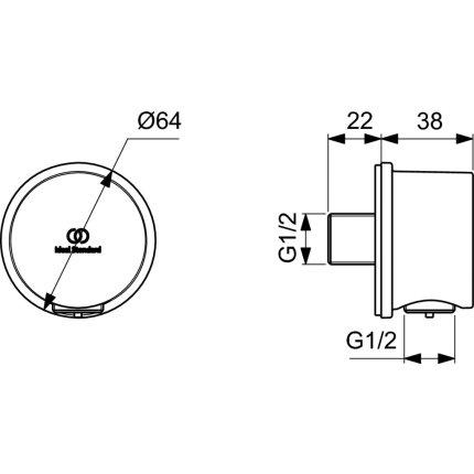 Conector FixFit Ideal Standard Ideal Rain Round, auriu periat