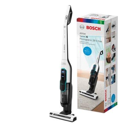 Aspirator vertical Bosch BCH86HYG1 Serie 6 Athlet ProHygienic, acumulator LiIon 25.2V, autonomie 60 minute, alb