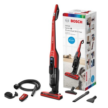 Aspirator vertical Bosch BCH86PET1 Athlet ProAnimal Serie 6, acumulator Li-Ion 25.2V, autonomie 60 minute, tornado red