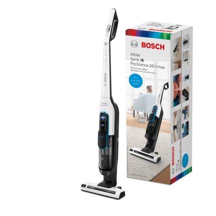 Aspirator vertical Bosch BCH86SIL1 Serie 6 Athlet ProSilence, acumulator Li-Ion 25.2V, autonomie 60 minute, alb