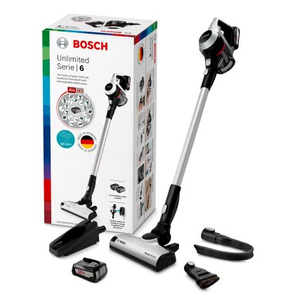 Aspirator vertical Bosch BCS61BAT2 Unlimited Serie 6, 2x acumulatori Power for ALL 18V, autonomie 30 minute, alb
