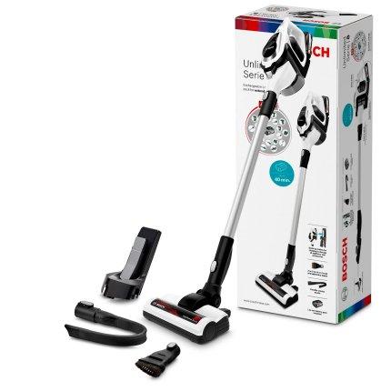 Aspirator vertical Bosch BCS81EXC Unlimited Serie 8, acumulator Power for ALL 18V, autonomie 40 minute, alb
