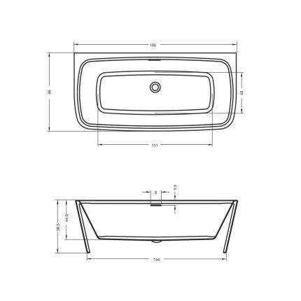 Cada rectangulara Riho Adore 180x86cm alba