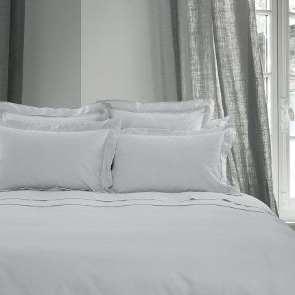 Cearceaf de pat cu elastic Descamps Unis Satin 140x200cm, Bleu-Gri