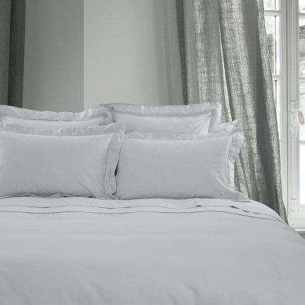 Cearceaf de pat cu elastic Descamps Unis Satin 200x200cm, Bleu-Gri