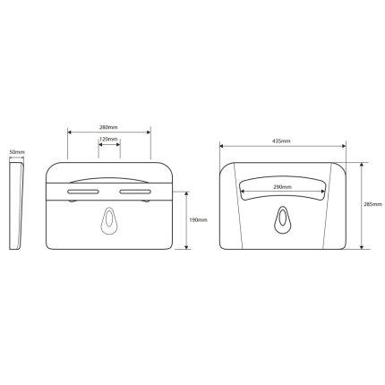 Dispenser pentru protectie igienica capac Wc Bemeta Hotel alb 435 x 285 x 50 mm