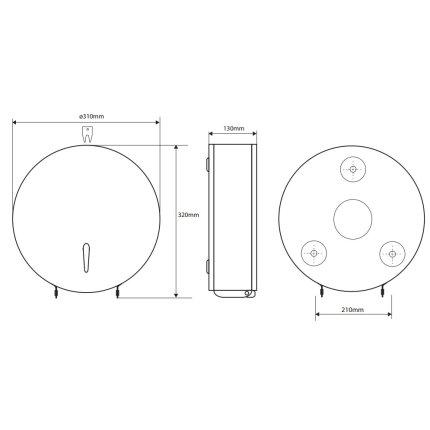 Dispenser rola hartie igienica Jumbo Bemeta Hotel otel inoxidabil periat 310 x 320 x 130 mm