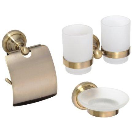 Set accesorii baie Bemeta Retro 3 piese, bronz