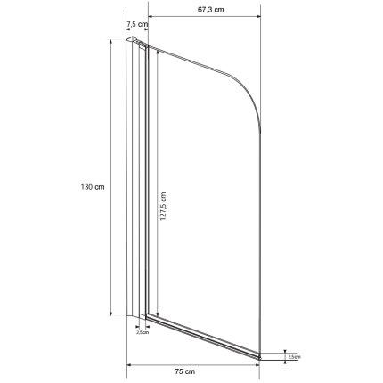 Paravan cada Besco Ambition 1, un element mobil, 75 x 130 cm, sticla transparenta 5 mm, profil crom