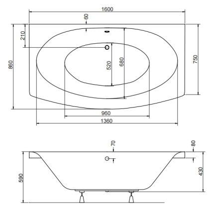 Cada dreptunghiulara Besco Telimena 160x75cm