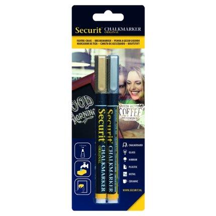 Set 2 markere creta Securit Liquid Small 1-2mm, auriu si argintiu