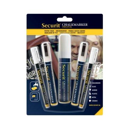 Set 5 markere creta Securit Liquid Small, Medium, Large, alb