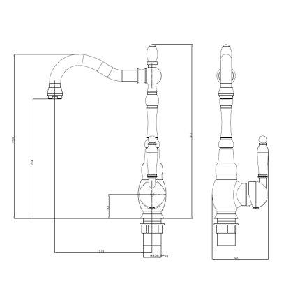 Baterie bucatarie Casablanca Lora retro bronz