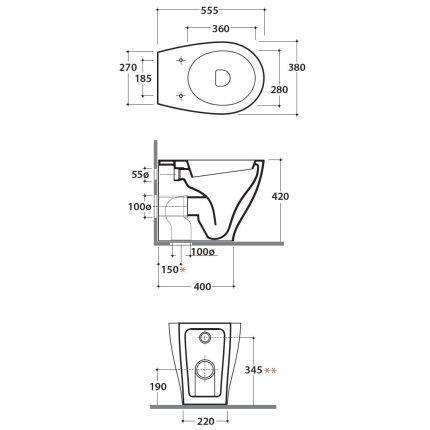 Vas WC Globo Bowl+ 38x55cm back-to-wall, pentru rezervor ingropat