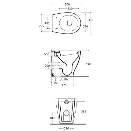 Vas WC Globo Bowl+ 38x50cm back-to-wall, pentru rezervor ingropat