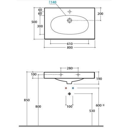 Lavoar Globo Bowl+ 80x50cm