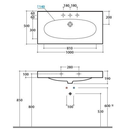 Lavoar Globo Bowl+ 100x50cm