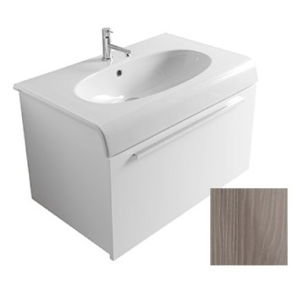 Dulap baza suspendat Globo Bowl+ 80cm cu 1 sertar, mesteacan