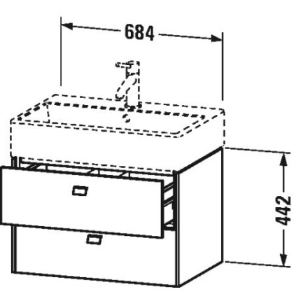 Dulap baza suspendat Duravit Brioso 684x442mm, cu doua sertare , alb mat