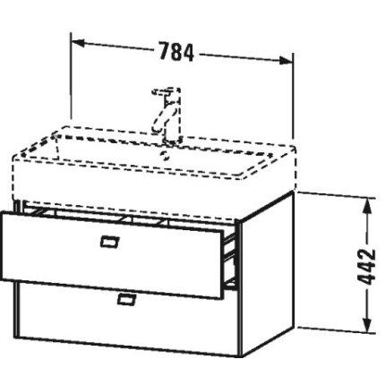 Dulap baza suspendat Duravit Brioso 784x442mm, cu doua sertare , gri ciment mat