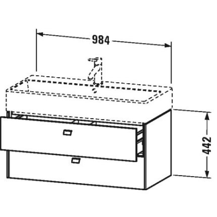 Dulap baza suspendat Duravit Brioso 984x442mm, cu doua sertare , alb mat