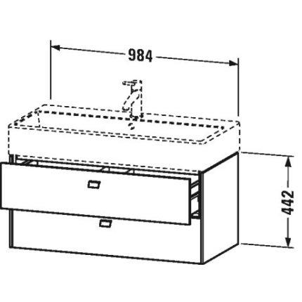 Dulap baza suspendat Duravit Brioso 984x442mm, cu doua sertare , gri ciment mat