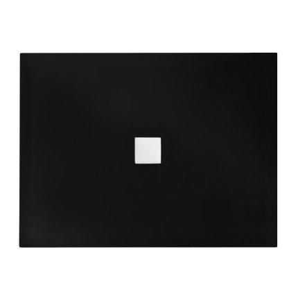 Cadita dus dreptunghiulara Besco Nox ultraslim 100x90x3,5 cm compozit negru