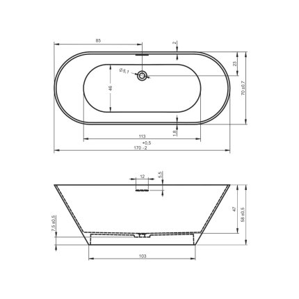 Cada free-standing Riho Barcelona 170x70cm alb mat