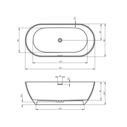 Cada free-standing Riho Bilbao 170x80cm alb mat