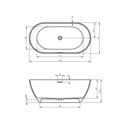 Cada free-standing Riho Bilbao 150x75cm alb mat