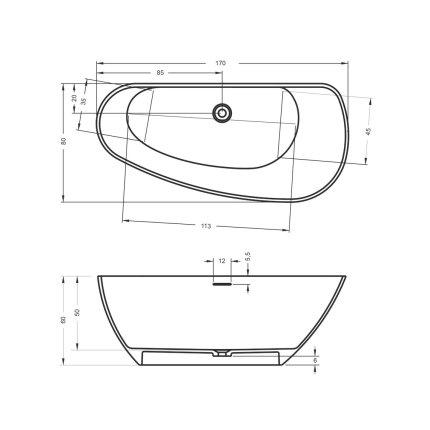 Cada free-standing Riho Granada 170x80cm alb mat varianta stanga