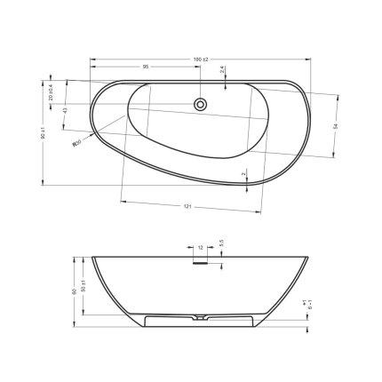 Cada free-standing Riho Granada 190x90cm alb mat