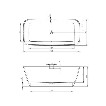 Cada free-standing Riho Malaga 160x75cm alb mat