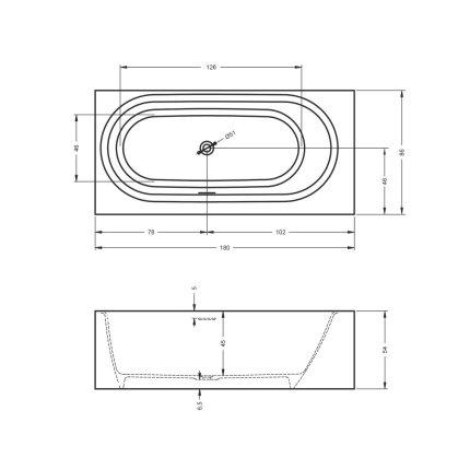 Cada free-standing Riho Madrid 180x85cm alb mat
