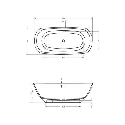 Cada free-standing Riho Bilo 165x77cm alb mat