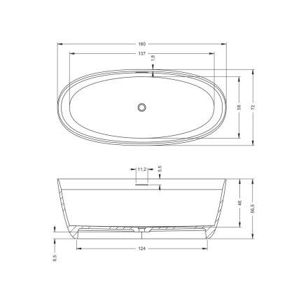 Cada free-standing Riho Oval 160x72cm, compozit, alb mat
